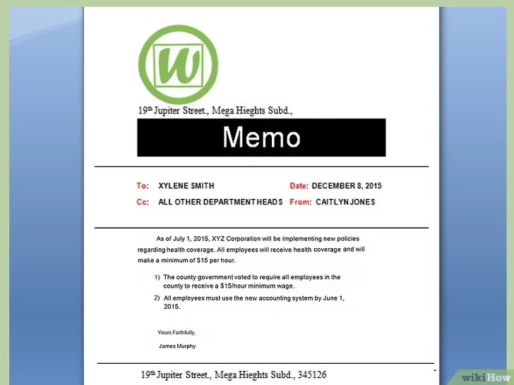 كيفية كتابة مذكرة Wikihow Memo Template Sample Resume Memo