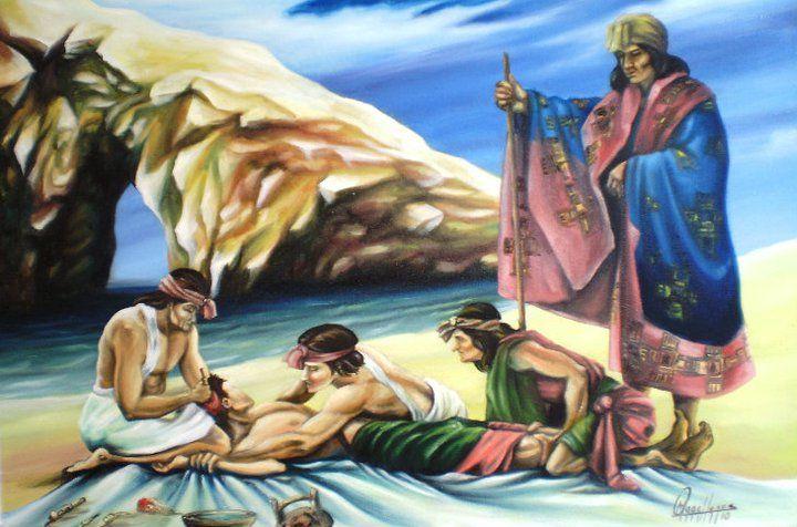 La Trepanación Craneana Paracas - oleo sobre lienzo, medidas 1.00 x 70 cm. artistas Oscar Estrada Magallanes