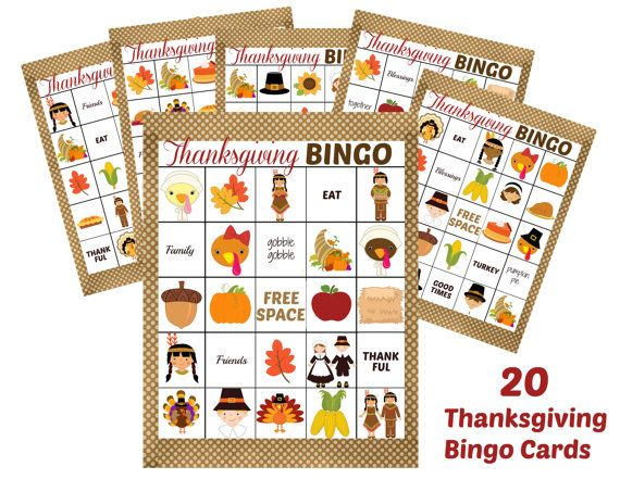 INSTANT DOWNLOAD Thanksgiving BINGO Holiday 3 in 1 Games Printable Download - Fun Family Party diy Memory Old Maid