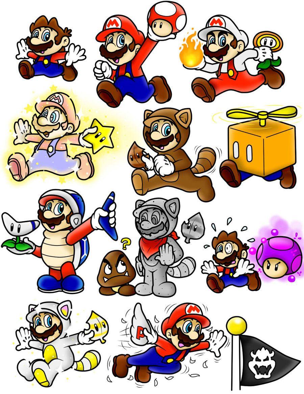 Super Mario 3D Land Power Up Doodles Mario Color by SuperLakitu
