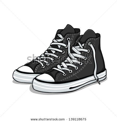 vector cartoon black gumshoes. Vector VectorVectorsIllustrationConverse  ShoesHip ...