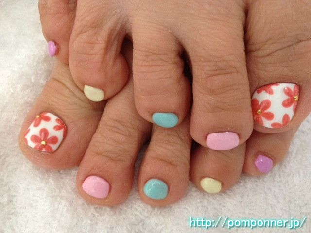 nail art design is cute without multi-colored toes | Nails ...