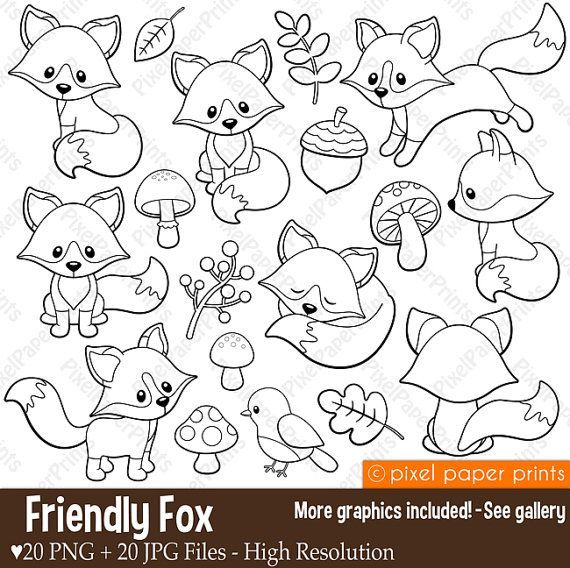 Friendly Fox - Digital stamps - Fox stamps - Line art, Digital Download