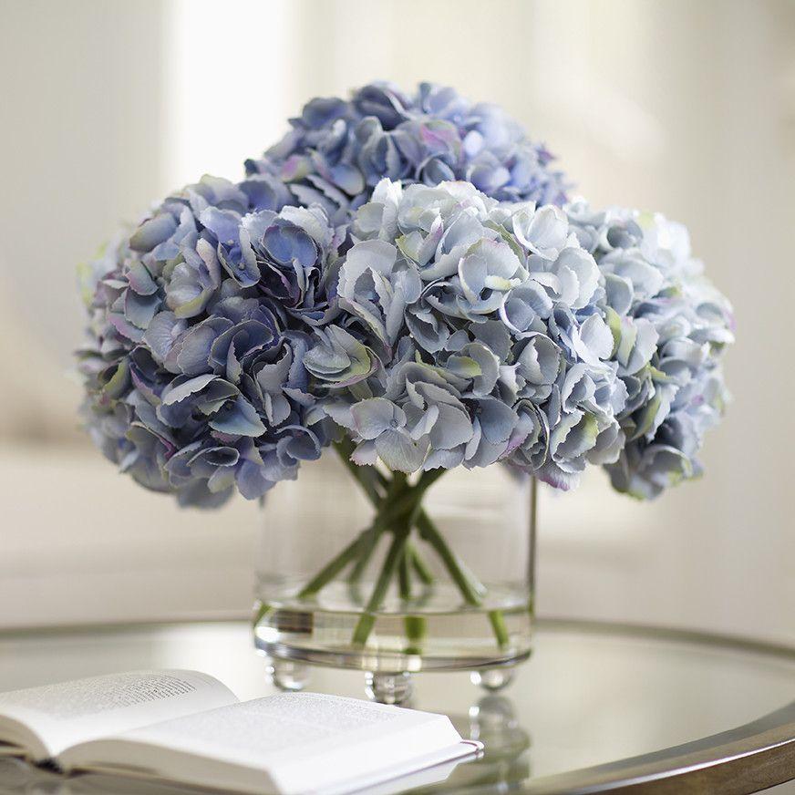 Faux Blue Hydrangea Arrangement Hydrangea Arrangements Faux Flowers Artificial Flower Arrangements