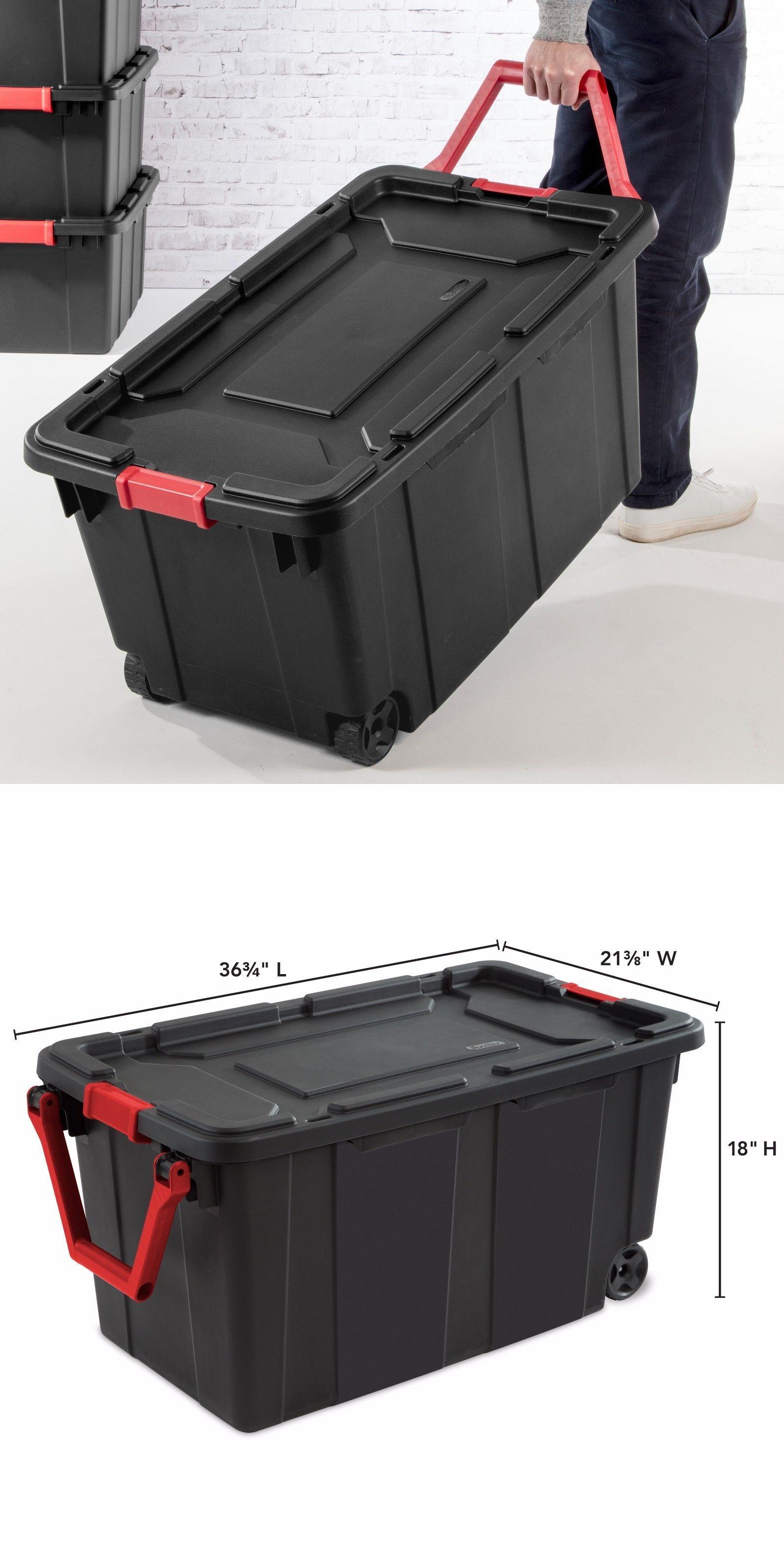 Storage Boxes 159897: 2 Wheeled Storage Container Plastic Tote 40 Gallon Bin  Box W Lid