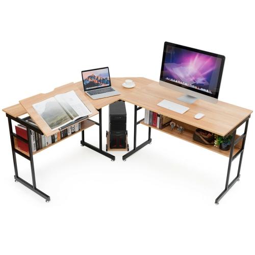 Gymax L Shaped Computer Desk Drafting Table Workstation W Tiltable Tabletop Bookshelf Best Buy Canada Corner Computer Desk Tabletop Bookshelf Desk L shaped computer desk cheap