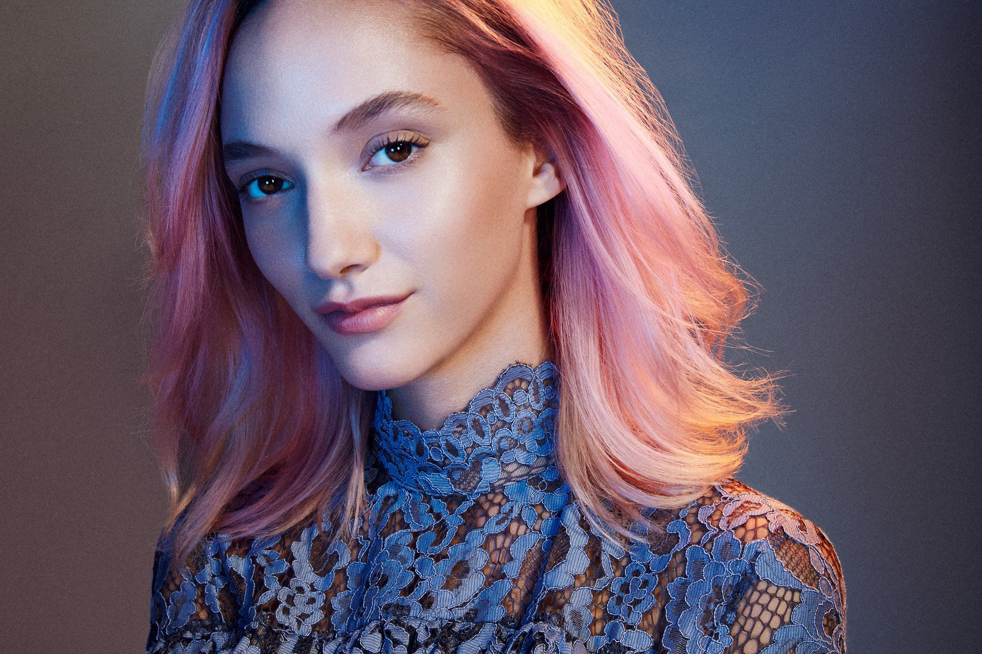 Dip-dyed pastel-pink ends look great on blonde hair, says hair colorist Aura Friedman.
