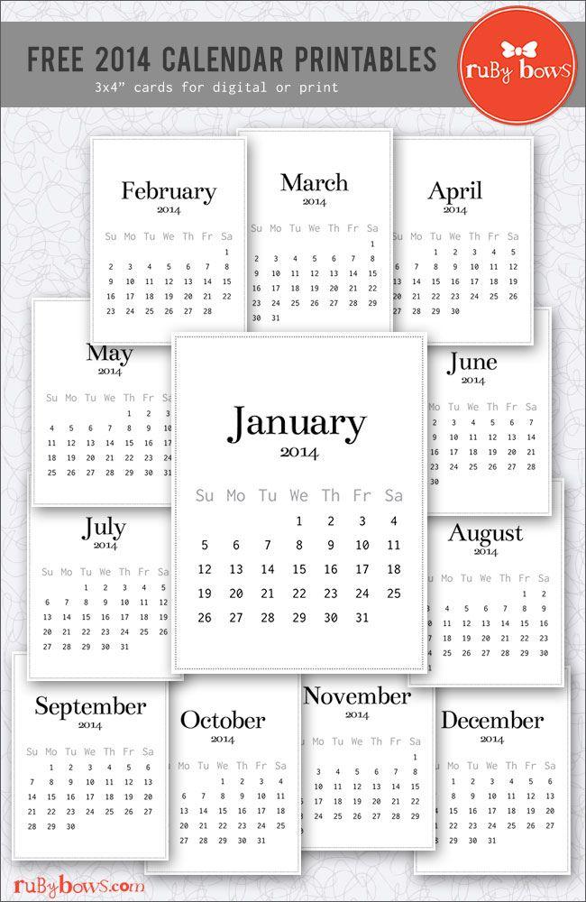 2014 Calendar Printables For Project Life Project Life Scrapbook