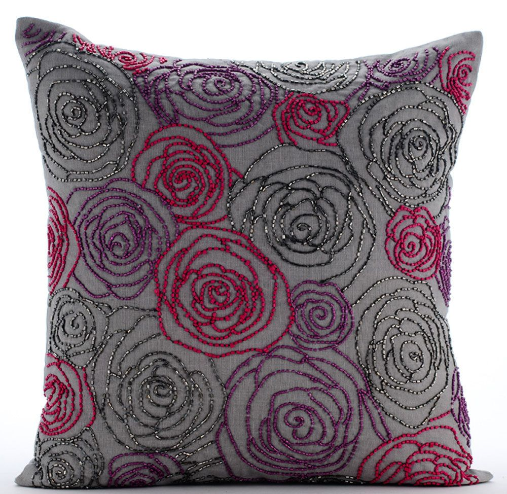 Grey Throw Pillow Covers 20x20 Embroidered Linen Decorative Pillows For Couch Rose Diva By Thehomecentric On Etsy