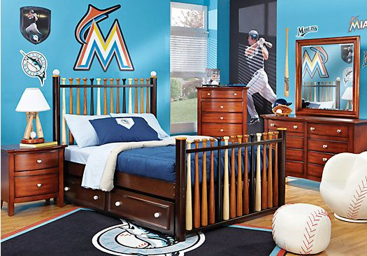 Boys Bedroom Set | Picture Of Batter Up Cherry 5 Pc Full Slat Bedroom From Boys