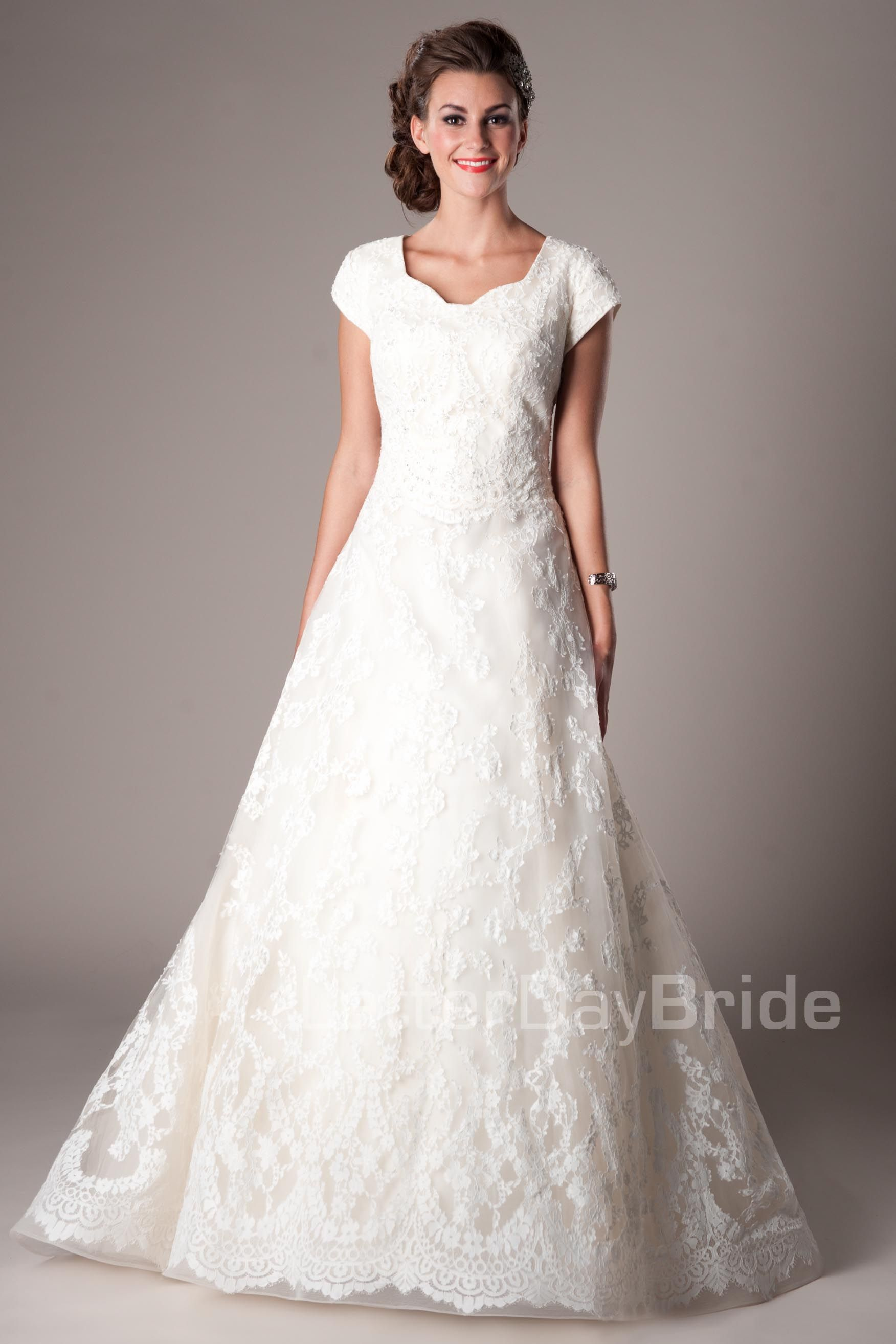 Seraphim modest wedding dress latter day bride prom for Lds wedding dresses lace