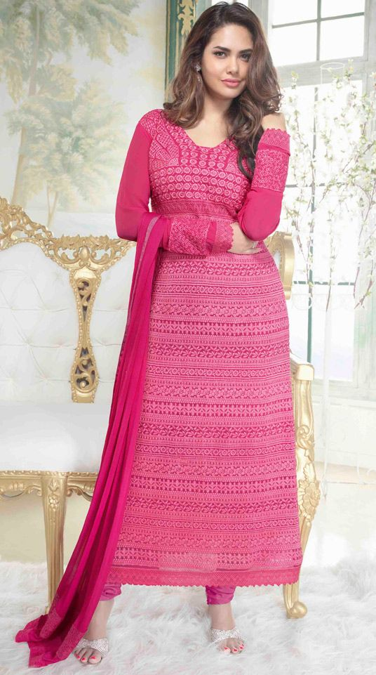 USD 53.66 Esha Gupta Pink Georgette Churidar Suit 48550