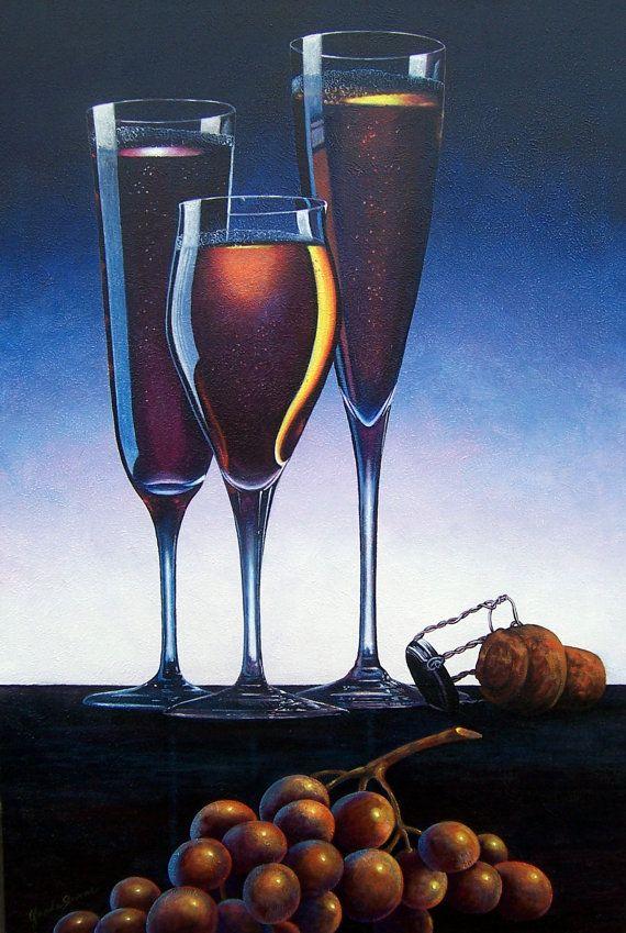 Three Champagne Glasses by GlendaOkiev on Etsy
