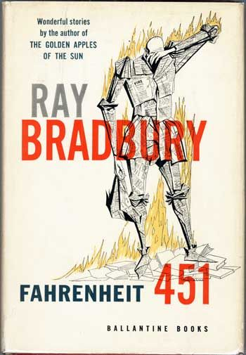 Fahrenheit 451 by Ray Bradbury, first edition cover