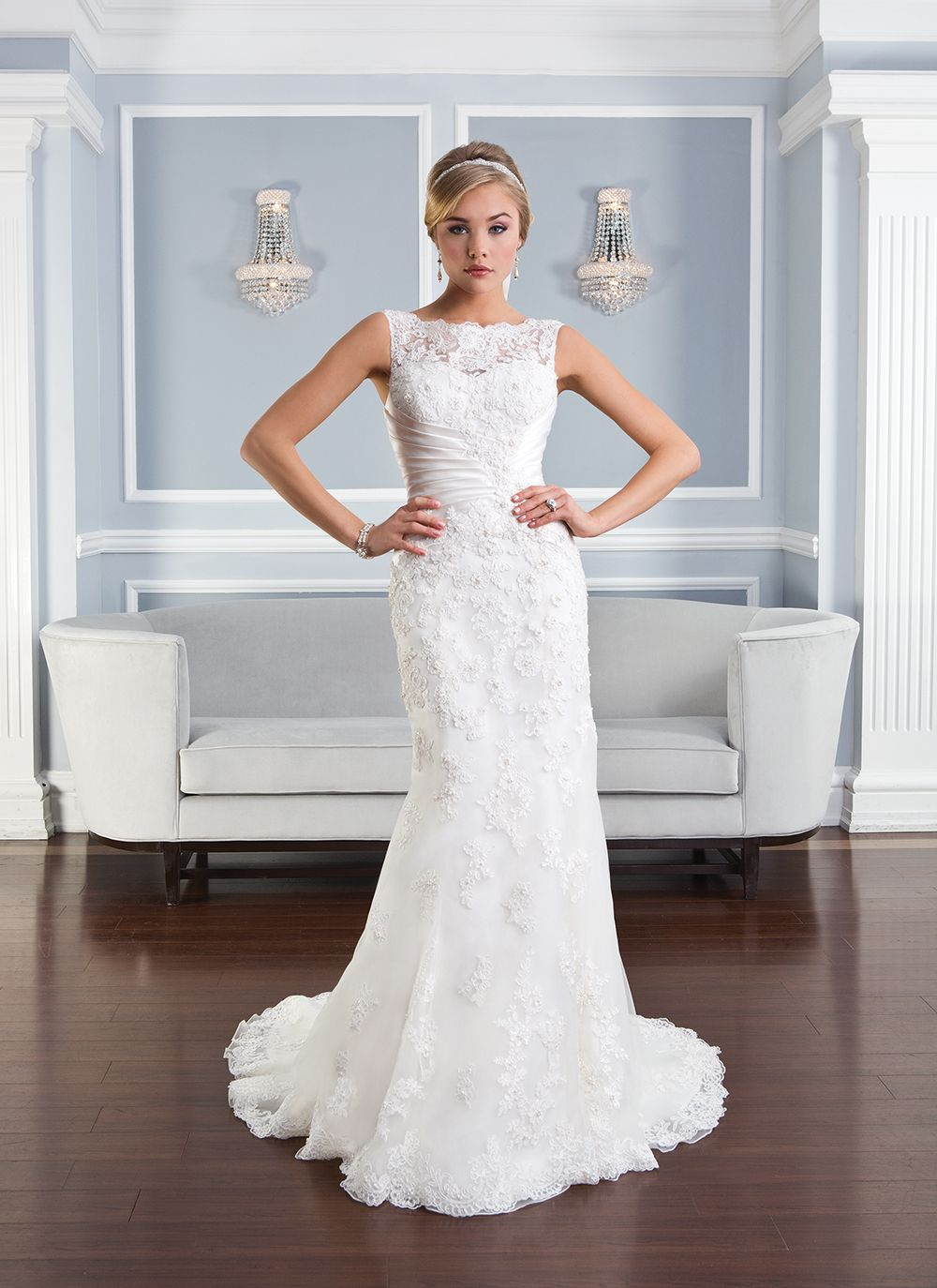 Lillian West lillian west style 6332 Beaded Alencon lace fit and ...