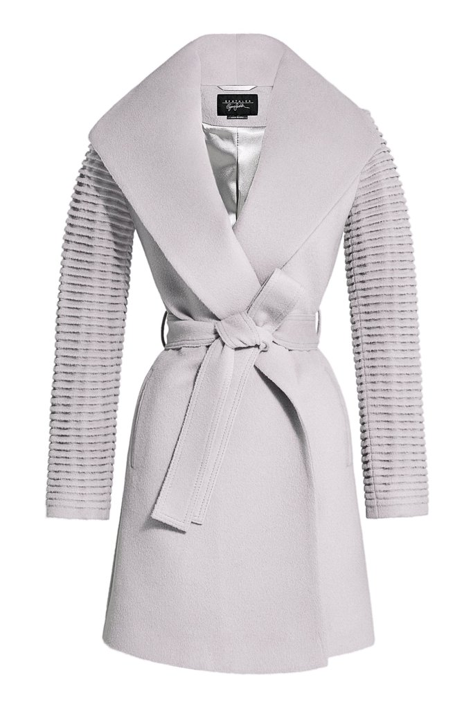Mid Length Shawl Collar Wrap Coat with Ribbed Sleeves </div>                                   </div> </div>       </div>                  <div style=