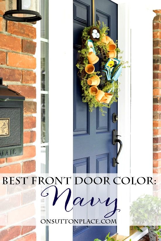 Make a statement with your front door with the perfect shade of navy blue paint. Navy front door | Blue front door | Navy door paint | Blue door paint.