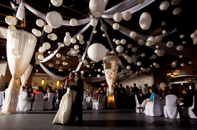 Wedding pomander flower kissing balls or lantern for How can prom venues be decorated