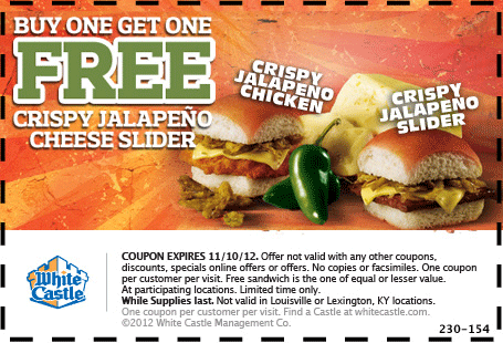You are now craving two-for-one jalapeno cheese sliders from White Castle coupon via The Coupons App