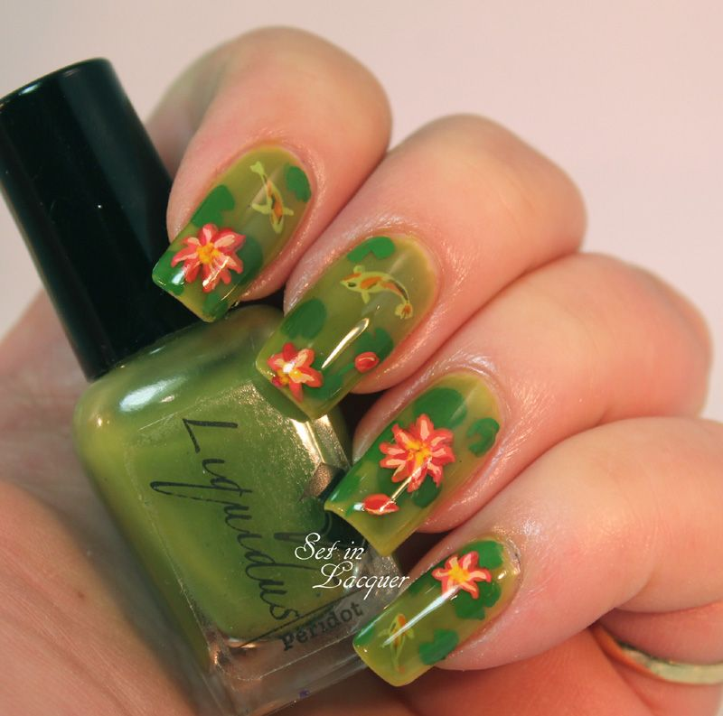 Pond nail art - complete with Koi and lilies | Nail Inspiration ...