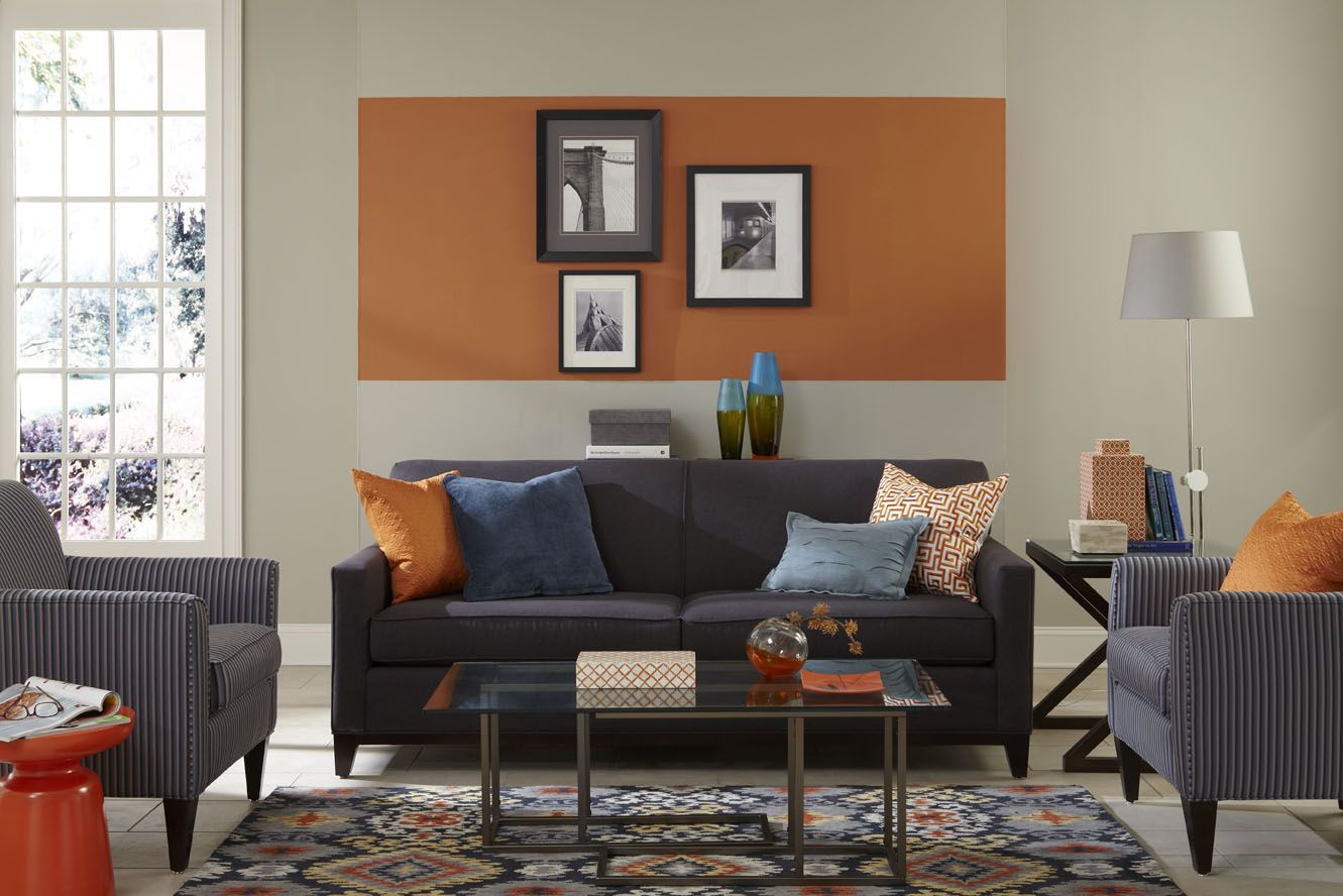 This living room features an unexpected pop of sherwin - Photos of living room paint colors ...