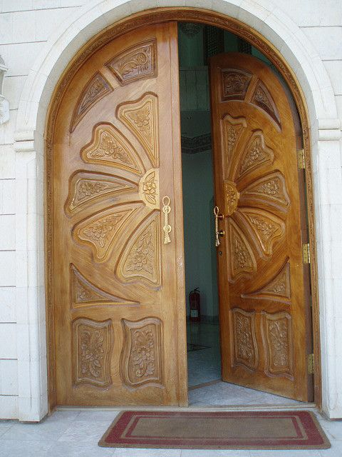 A door to the guest house | Wood doors, Flower designs and ...