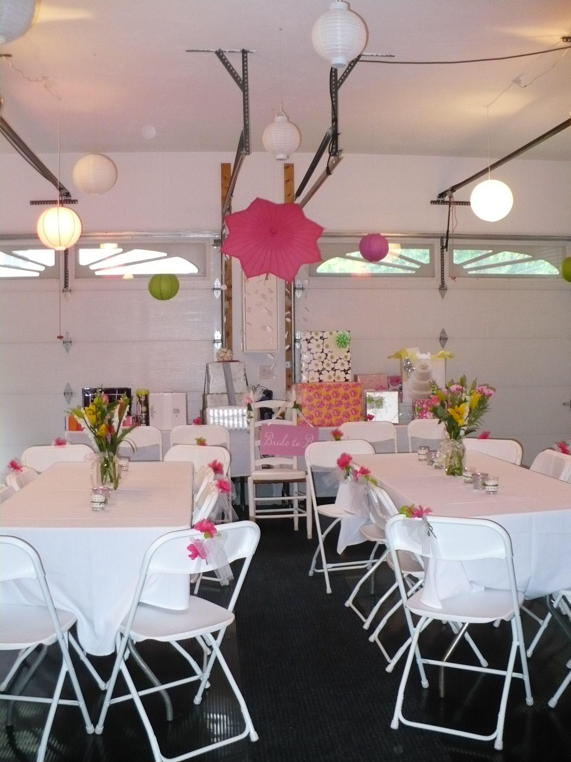 Garage Transformation For A Bridal Shower Garage Party Decorations Garage Party Bridal Shower