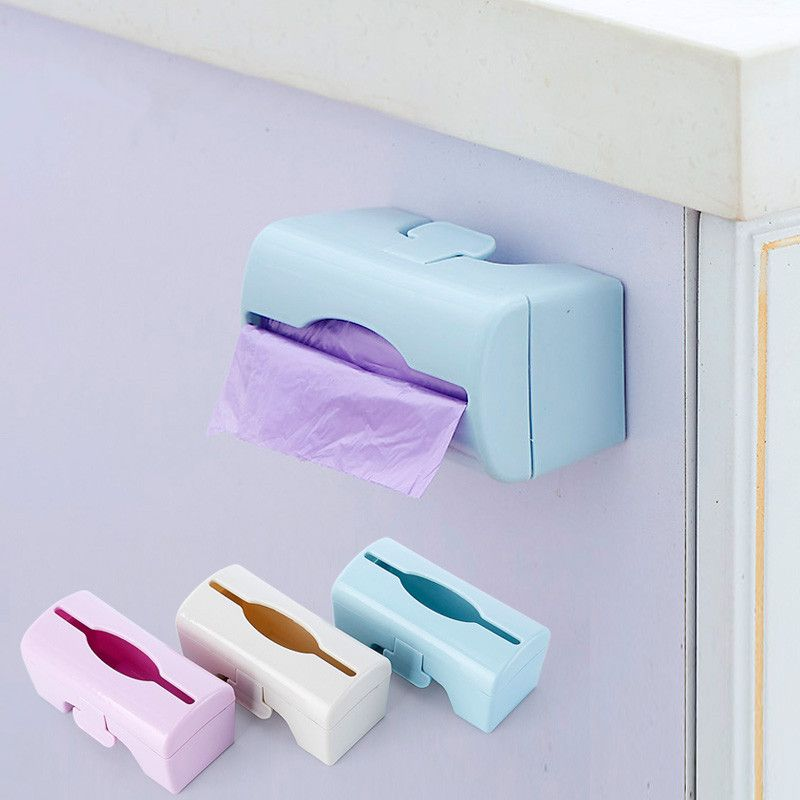 New Wall Mounted Plastic Garbage Bag Storage Box Trash Bags Holder
