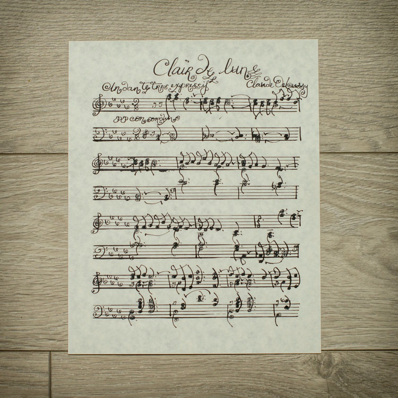 Claire De Lune By Claude Debussy Handwritten Sheet Music Romantic
