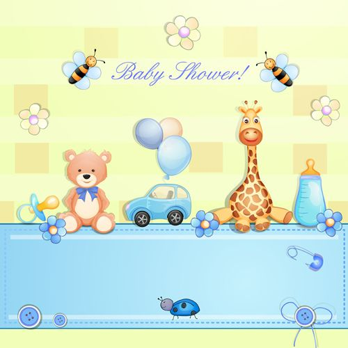 Cute toy with baby card vector 02