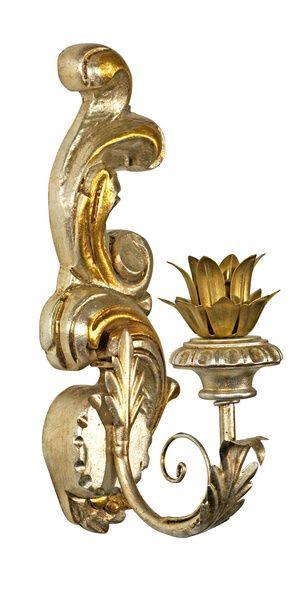 1 Paar Wandkerzenleuchter Holz Gold Silber  von Freude am Wohnen - Wohnen mit Freude auf DaWanda.com
