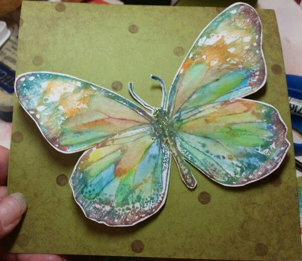 Watercolored butterfly card
