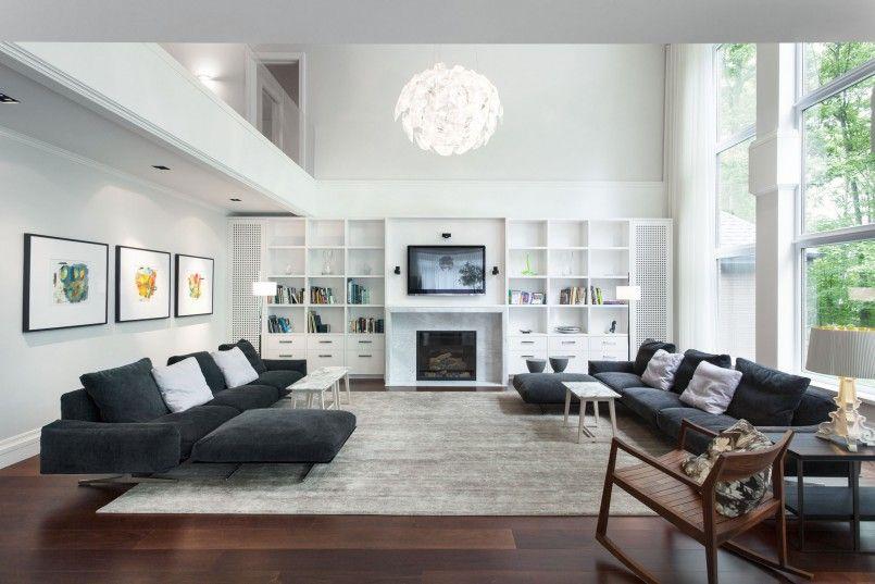 Living Room Brown Laminated Wooden Floor Black Long Sofa White Cushion Grey Fur Rug Wall Living Room Design Modern Modern Living Room Interior Living Room Grey