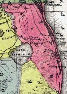 St Lucie County In 1850 Map Courtesy Of The Exploring Florida Maps