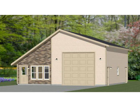 34x42 1 Rv Garage 1 Bedroom 1 Bath 1400 Sq Ft Pdf Etsy In 2020 Shed Building Plans Building A Shed Roof Shed Plans
