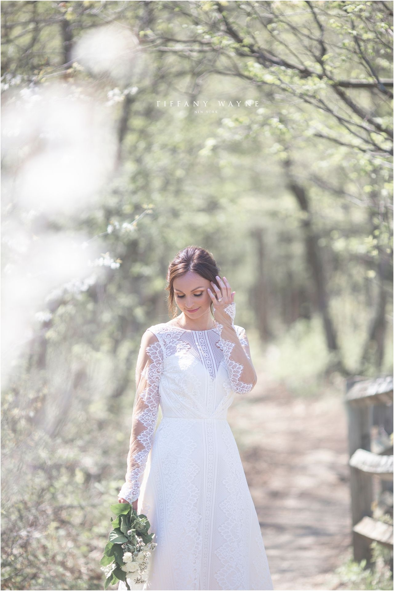 Outdoor wedding portrait in woods light and airy lace wedding