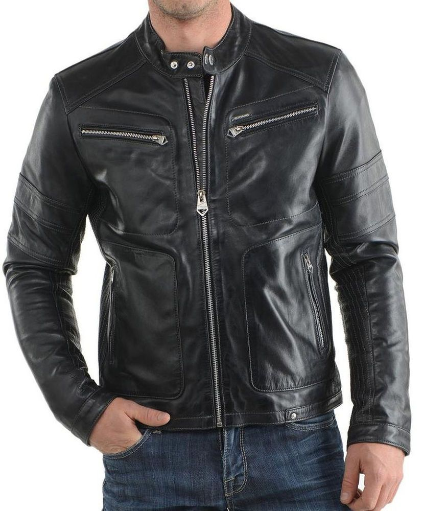 New Men's Leather Jacket Black Slim fit Motorcycle Real