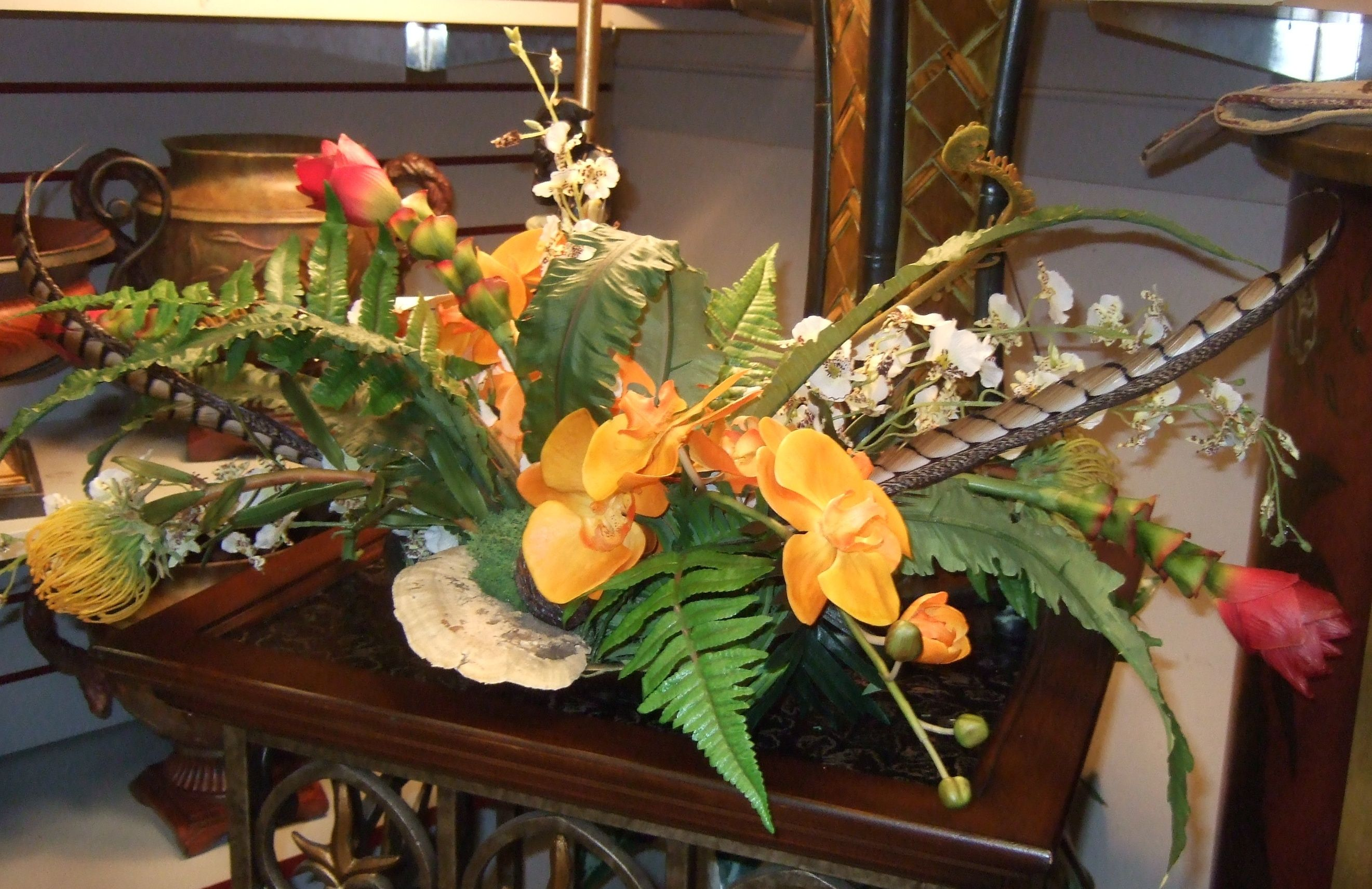 Tropical Centerpiece Silk Flowers Arangement