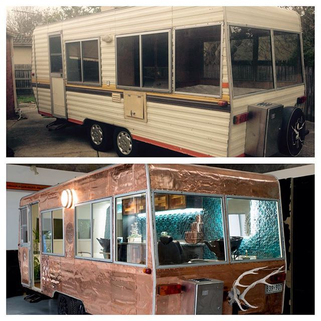 From #trailerpark trash to #trailerparkflash this this #haircararvan is ready to hit the road for its first #festival @springflingfestival then @dragondreamingfestival @return_to_rio @panaceafestival @paradisefestivals get your #festivalhair @eyeamhair and free travel packs thanks to #evohair in a copper caravan