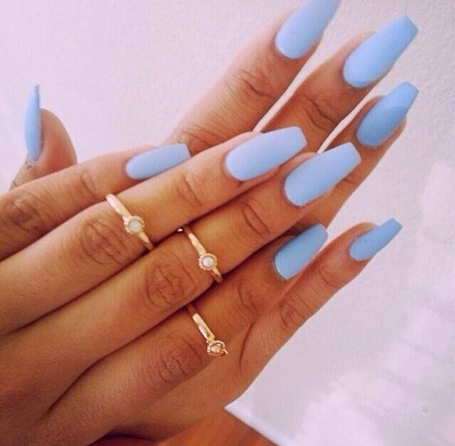 Baby Blue Matte Nails Mid Finger Rings Blue Matte Nails Nails Pretty Nails