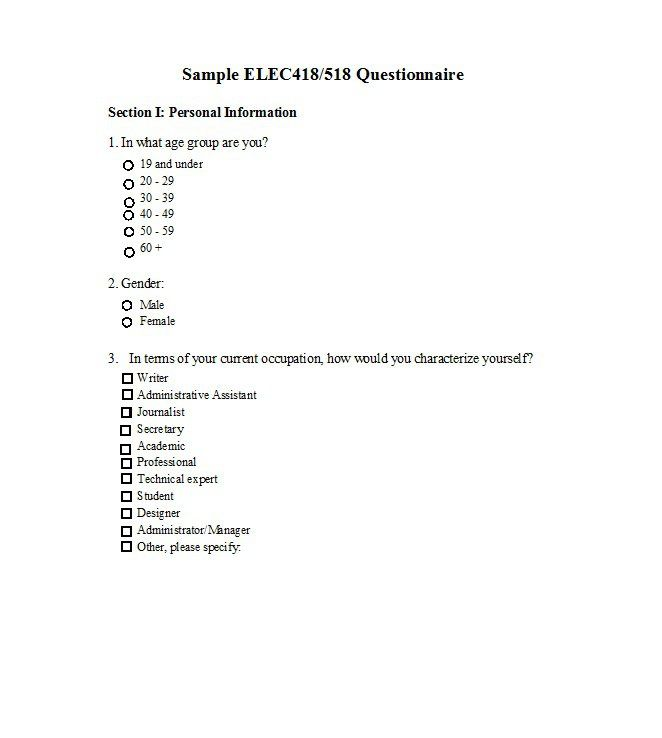 Questionnaire Template 09 Questionnaire Template Pinterest