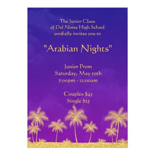 Elegant Arabian Nights Prom Formal Invitation Arabian nights - formal invitation