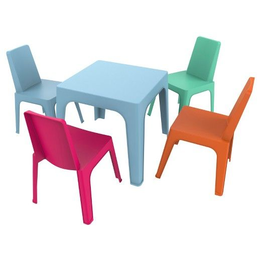 Pleasing Julieta 5Pc Square Kids Table And Chair Set Blue Table W Machost Co Dining Chair Design Ideas Machostcouk