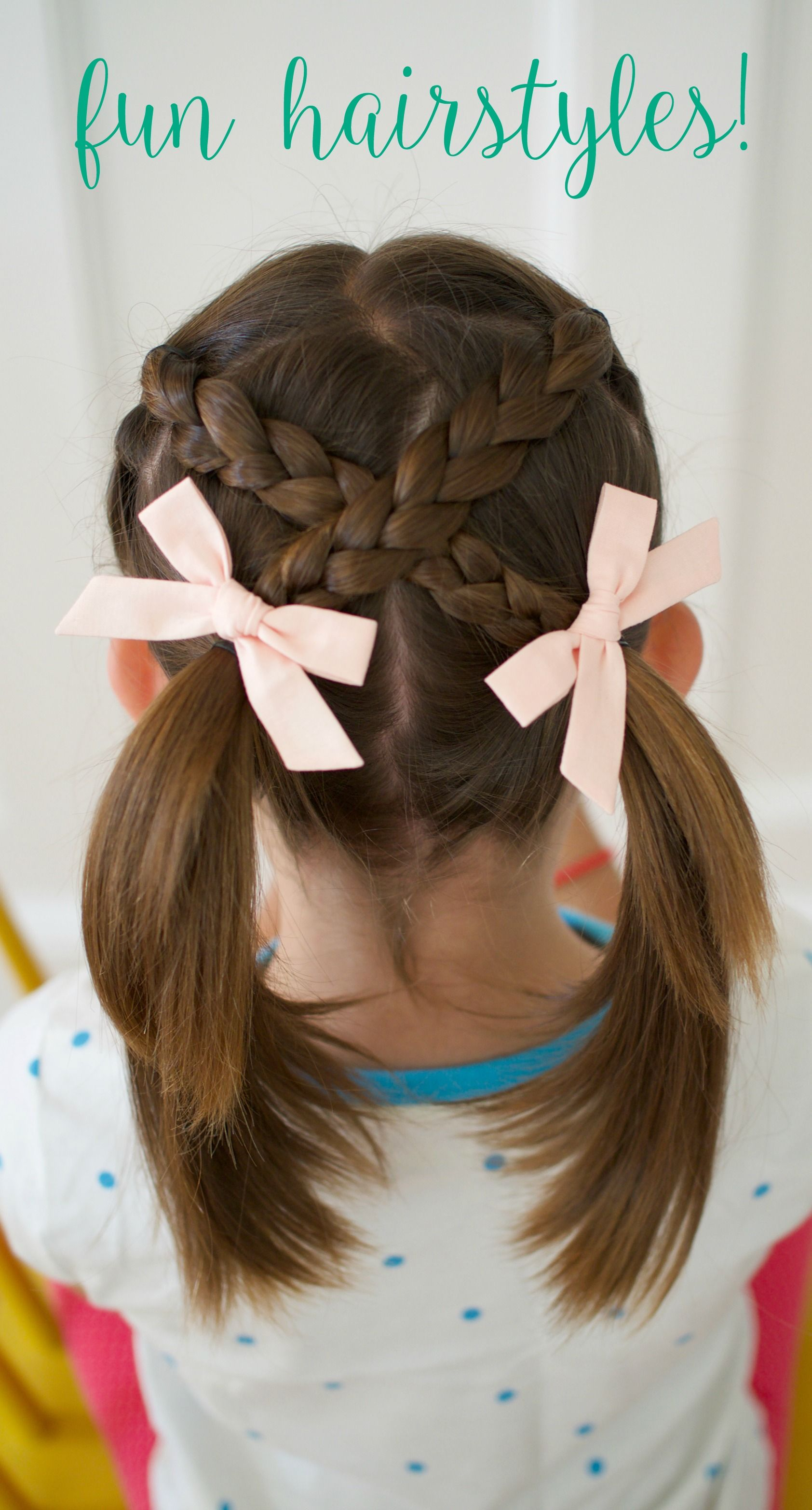 Very Easy Hair Styles for Girls: From Toddlers to School Age  Click here for step by step directions for 6 easy styles for girls hair, short hair styles, best bows, cool braid hairstyles, Wunderkin bows, #wunderkindred