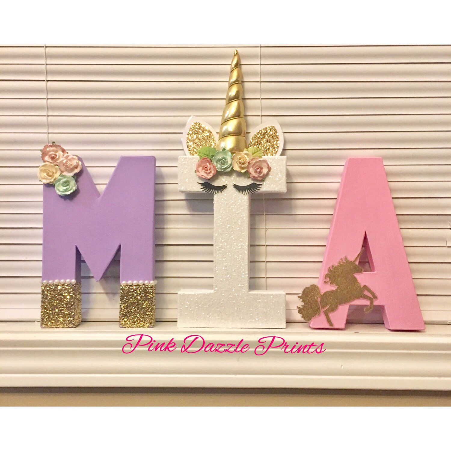 One Letter Birthday Set One Unicorn Birthday Prop Stand Up One Letter Centerpiece Unicorn Theme Birthday Unicorn Birthday Picture Prop