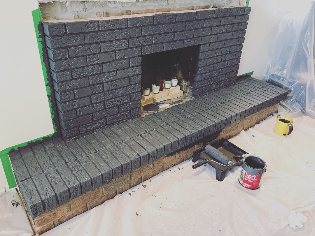 Replacing your fireplace mantle and painting bricks Hereus the best