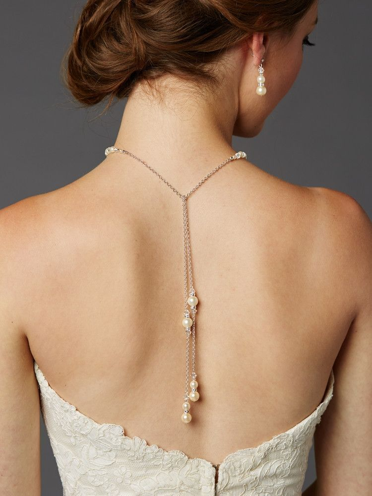Adjustable Glass Pearl Back Necklace with Lariat Dangles - Handmade