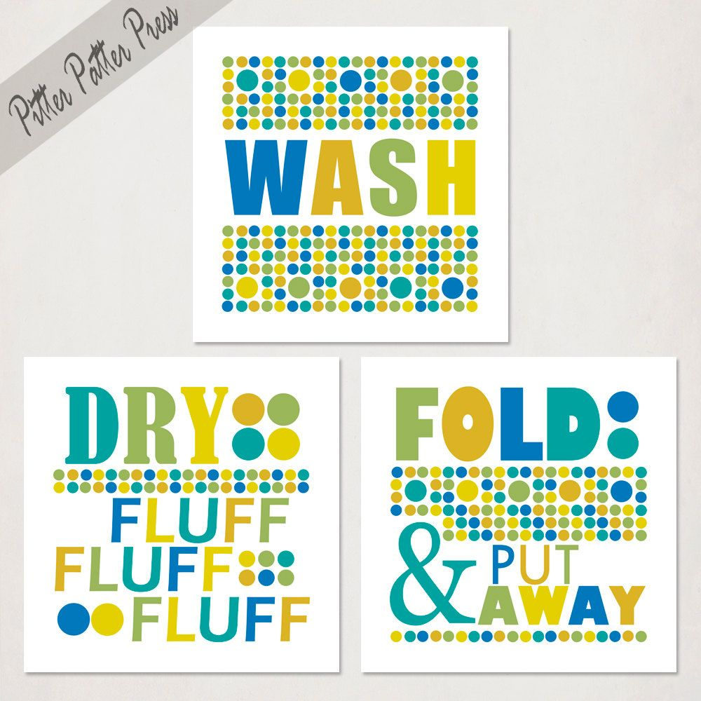Items Similar To Laundry Room Art Prints Set Of Three Wash And Dry Clothes Green Yellow Blue Or Pick Custom Colors Size On Etsy