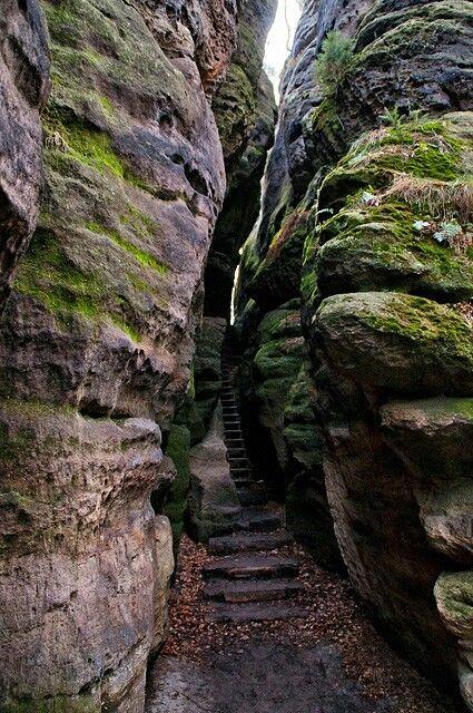 Wer in der Sächsischen Schweiz wandern möchte, muss oft durch solche engen Felsspalten hindurch klettern.