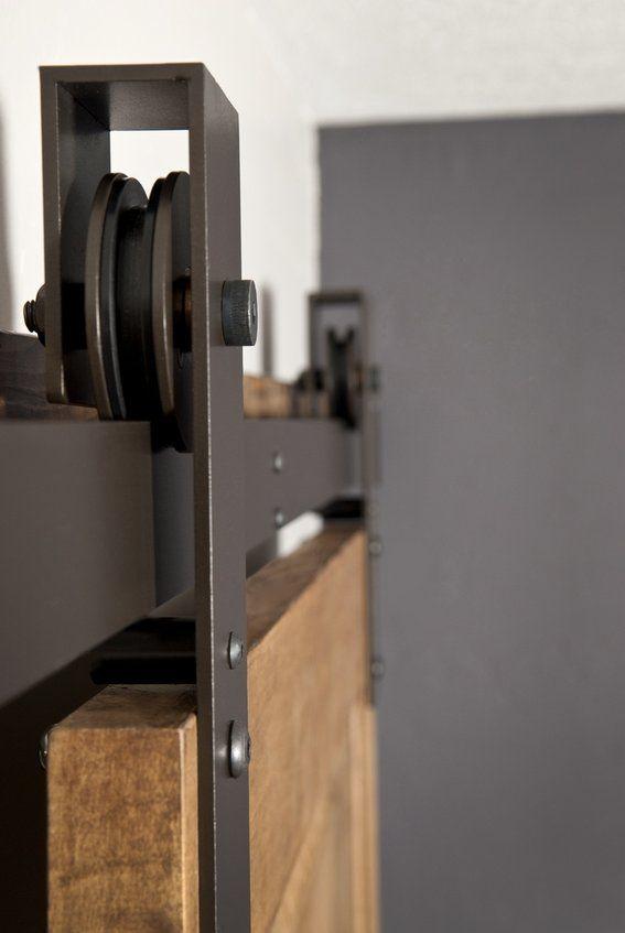 Basin Custom Barn Door Hardware Flat Track In Bronze.